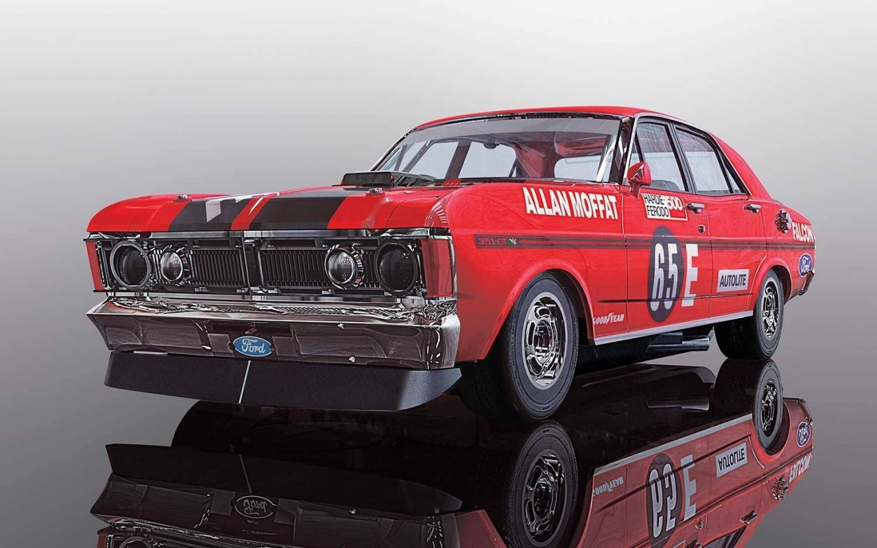 thunderbird slot racing scalextric ford falcon xy gtho 1971 bathurst winner allan moffat 65e. Black Bedroom Furniture Sets. Home Design Ideas